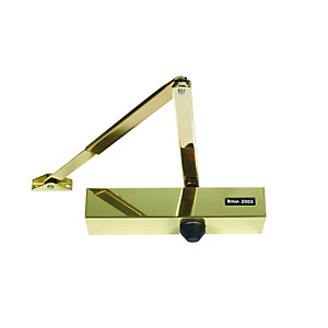 Briton 2003.PBS Overhead Door Closer Polished Brass, Size 3