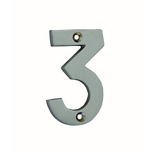 4Trade Door Number 3 Chrome Plated 75mm