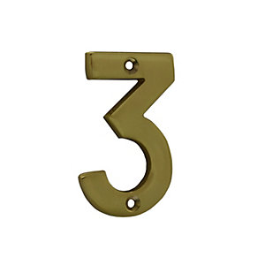 4Trade Door Number 3 Polished Brass 75mm