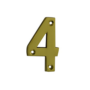 4Trade Door Number 4 Polished Brass 75mm