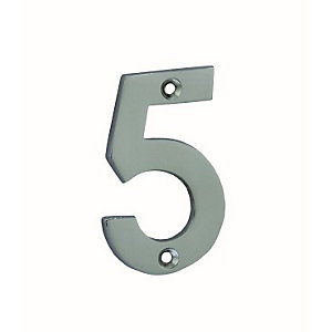 4Trade Door Number 5 Chrome Plated 75mm