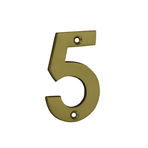 4Trade Door Number 5 Polished Brass 75mm