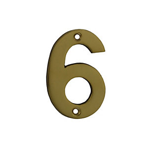 4Trade Door Number 6/9 Polished Brass 75mm