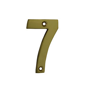 4Trade Door Number 7 Polished Brass 75mm