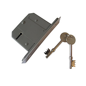 Instock 5 Lever Mortice Deadlock BS3621 Satin Chrome 64mm