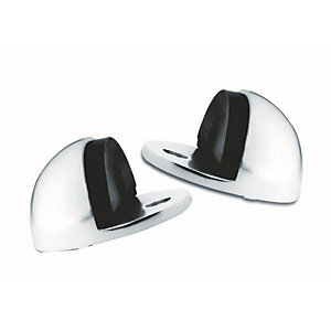 4Trade Oval Door Stop Satin Anodised Aluminium Pack of 2