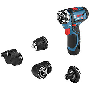 Bosch Gsr 12V-15 Fc 12V Flexiclick Drill Driver with Angle, Bit Holder, Drill Chuck and Offset Angle Adapter with 2 x 2.0 Ah Batteries and Charger in   A L-boxx