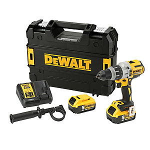DeWalt DCD996P2 18V Xr 3-SPEED Brushless 5AH Lithium Ion Combi Drill Complete with 2 x 5AH Batteries, Charger and Tstak Kitbox
