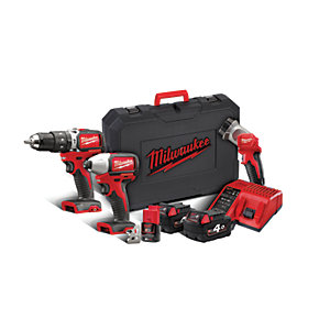 Milwaukee 18V Brushless Combi Drill, Impact Driver and 12V Torch Triple Pack M18BLPP2D-423C