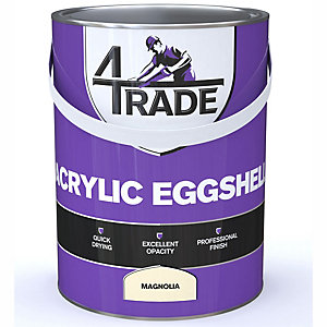 4Trade Acrylic Eggshell Magnolia Quick Drying Paint 5L