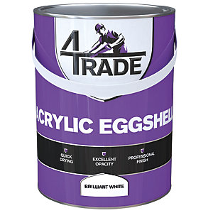 4Trade Acrylic Eggshell Quick Drying Paint Brilliant White 5L