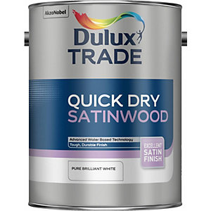 Dulux Quick Dry Satinwood Paint Pure Brilliant White 5L