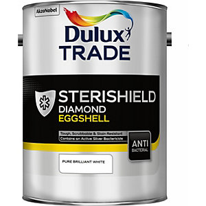 Dulux Sterishield Diamond Eggshell Quick Drying Paint Pure Brilliant White 5L