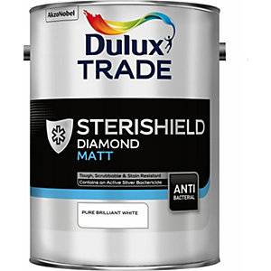 Dulux Sterishield Diamond Matt Quick Drying Paint Pure Brilliant White 5L