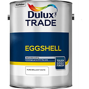Dulux Trade Eggshell Paint Pure Brilliant White 5L 5184005