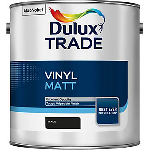 Dulux Trade Vinyl Matt Emulsion Paint Black 2.5L