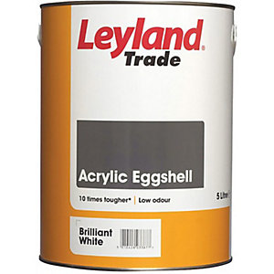 Leyland Trade Acrylic Eggshell Quick Drying Paint Brilliant White 5L