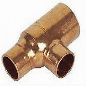 Jw Copper Endfeed Tee Reduced End & Branch 42mm x 35mm x 35mm