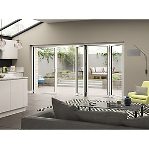 Aluminium External White Left Opening Bifold Door Set 3990mm wide