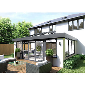 Vista Aluminium 2 Leaf Bifold Door , 28mm Sealed Unit with 4mm Toughend Glass (Max width = 2000mm, Max Height = 2500mm) Grey Exterior & White Interior Finish