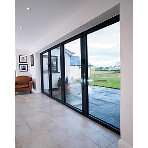 Vista Aluminium 4 Leaf Bifold Door , 28mm Sealed Unit with 4mm Toughend Glass (Max width = 4000mm, Max Height = 2500mm) Black Exterior & Black Interior Finish