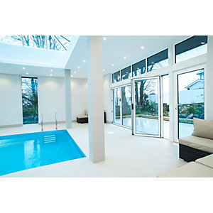 Vista Aluminium 6 Leaf Bifold Door , 28mm Sealed Unit with 4mm Toughend Glass (Max width = 6000mm, Max Height = 2500mm) White Exterior & White Interior Finish