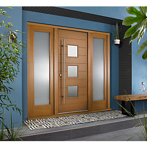 Malmo External Oak Veneer Door 1981 x 838mm + Oak Frame &â  Side Lights 2 x 24in 610mm L & R