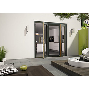 External Aluminium Clad Grey/Pre-Finished Oak Bifold Door Set