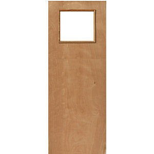 External Flush PWD Paint Grade FD30 Fire Door 1G Glazed Georgian 1981mm x 838mm x 44mm
