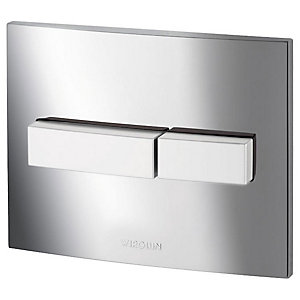 Wirquin 50717686 Pro Line Chrome Dual Flush Push Plate with Matt Push Buttons (Cistern Only)