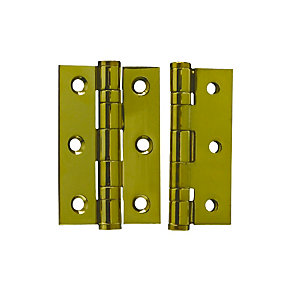 4Trade Fire Door Ball Bearing Hinges Grade 7 PVD Brass 75 x 50 x 2mm Pack of 2