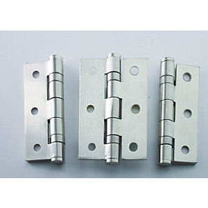 4Trade Fire Door Ball Bearing Hinges Grade 7 Satin 75 x 50 x 2mm Pack of 3