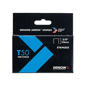 Arrow T5038SS T50 Staples Stainless Steel 506SS 10mm (3/8in) Box 1000