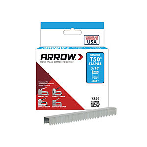 Arrow T50516S T50 Staples 8mm (5/16in) Box 1250