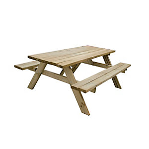 Forest Garden Large Rectangular Picnic Table Seats 8