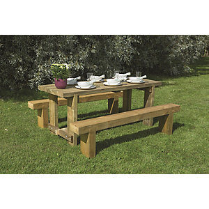Refectory Picnic Table and Sleeper 2 Bench Set - 1.2m