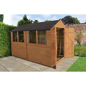 Overlap Dip Treated 10x6 Apex Shed Double Door