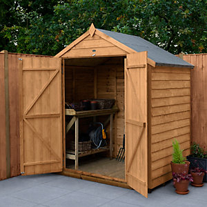 Overlap Dip Treated 6 x 4 Apex Storage Shed with Double Door, No Window