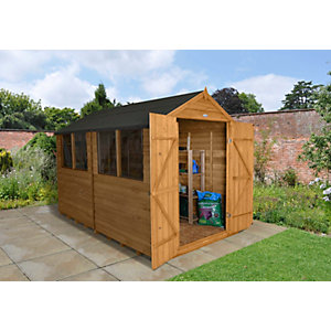 Overlap Dip Treated Apex Shed Double Door 10 ft x 8 ft