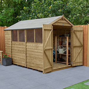 Overlap Pressure Treated 10x6 Apex Shed Double Door
