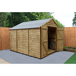 Overlap Pressure Treated 10x8 Apex Shed Double Door No Windows