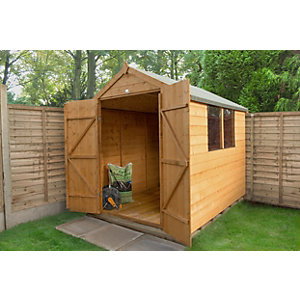 Shiplap Dip Treated Apex Shed 8 x 6 with Double Door