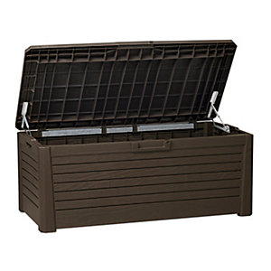 Wood Effect Garden Storage Bench - 550 Litre Brown