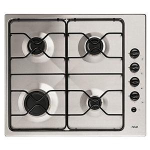 Neue 60cm 4 Ring Gas Hob with Enamel Supports Stainless Steel - GH601SS.