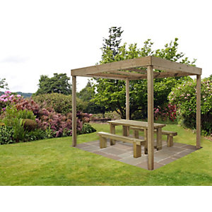 Pressure Treated Timber Dining Pergola Without Panels
