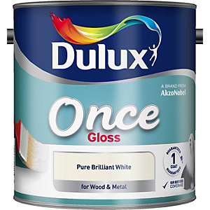 Dulux Once Gloss Paint Pure Brilliant White 750ml