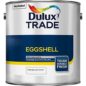 Dulux Trade Eggshell Paint Pure Brilliant White 2.5L 5183327