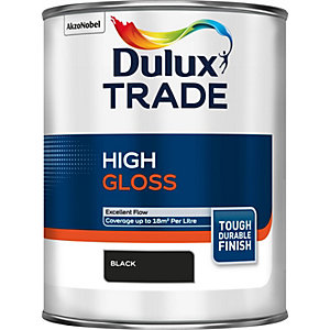 Dulux Trade High Gloss Paint Black 1L