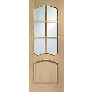 Hardwood Louis Oak Raised Mould Bevel Glazed Internal Door Height 1981mm