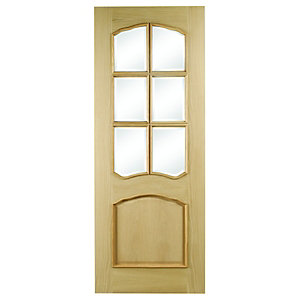Hardwood Louis Oak Raised Mould Bevel Glazed Internal Door